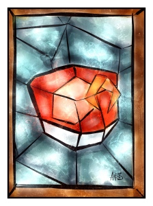 "This is an ""artist"" rendering of what St Negroni would look like in stained glass. Blessed are you Negroni, may your parts alway be equal and balanced, may your zest be spritzed above the glass and praise you for opening the gates of bitter."