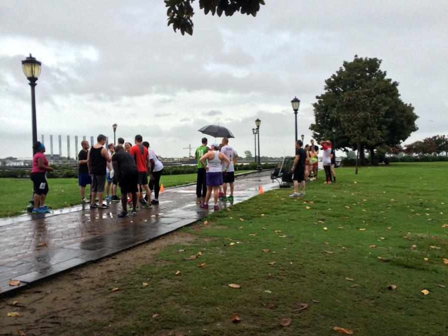 Rainy, slow moving finish line